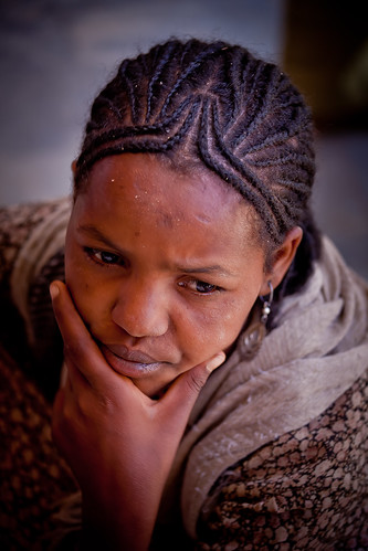 portrait of a girl  outside the St. Mary Zion Church-axum-etiopia by ronnyreportage
