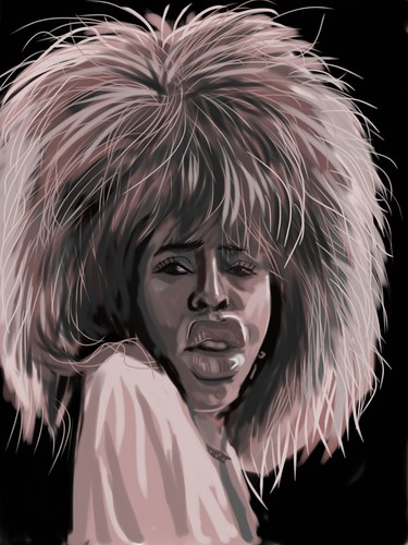 digital caricature of Tina Turner on iPad Sketchbook Pro - 1