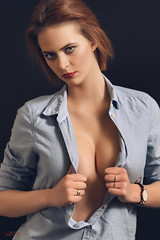 (Øyvind Bjerkholt (Thanks for 38 million+ views)) Tags: denim unbuttoned cleavage sexy sensual erotic naughty look lips eyes redhead beautiful gorgeous pretty woman girl female she canon 50mm studio feminine elegance classy fashion portrait glamour beauty arendal norway