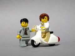Roman Holiday (Dunechaser) Tags: italy rome roma movie vespa audreyhepburn lego scooter minifig minifigs custom arealight accessory romanholiday gregorypeck