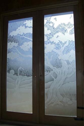 Bonsaie Tree Etched Door Glass