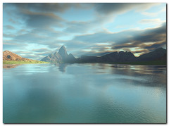 Lake Anywhere - Dreamscape of fantasy (Vestaligo - Vacation with Internet connection) Tags: blue sky mountain lake water landscape scenery digitalart fantasy blueribbonwinner topshots bej theunforgettablepictures sognidreams mallmixstaraward platinumpeaceaward