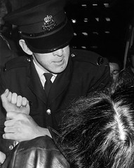 The Arrest - film (Bruce Kerridge) Tags: city blackandwhite bw film night mono interesting nikon sydney photojournalism police australia weekly arrest plusten