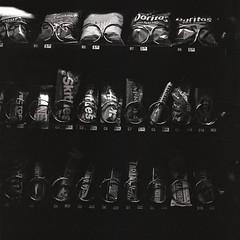 candies (Js) Tags: blackandwhite bw 6x6 contrast mediumformat square shadows candid grain delta pro vendingmachine push 3200 ilford yashica 20c tmaxdev mat124g cokin grainny 14min iso12500 p003 dp3200