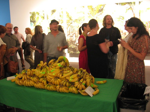 Fruit eaters at Fallen Fruit's United Fruit exhibit at LACE