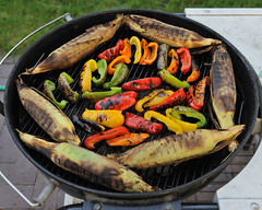2009-06-20 Father's Day Eve 5 (JanetandPhil) Tags: food pepper corn nikon bbq grill charcoal peppers barbeque oliveoil fathersday nikkor husks weber d3 cornonthecob greenpeppers redpeppers yellowpeppers 2470mm webergrill orangepeppers 2470 grilledcorn grilledpeppers grilledcornonthecob 2470m