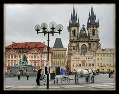 Prague old town square (Mike G. K.) Tags: street old people sculpture horse church lamp statue architecture geotagged carriage post prague cathedral cityhall spires gothic praha czechrepublic oldtownsquare hdr tn photomatix staromstsknmst 3exp tnskchrm churchofourladyinfrontoftn kostelmatkybopedtnem janhusmemorial geo:lat=50087458 geo:lon=14420631