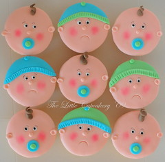 Baby Shower Cupcakes (Klaire with a Cake) Tags: blue boy baby shower cupcakes babies little footprint tlc fondant cupcakery xirj klairescupcakes