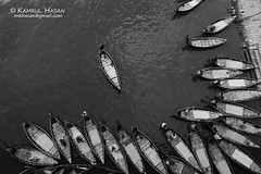 The harbour (Kamrul - Hasan) Tags: black water monochrome beautiful river boat dhaka arrangement arial sadarghat buriganga tokina1116 badamtoli