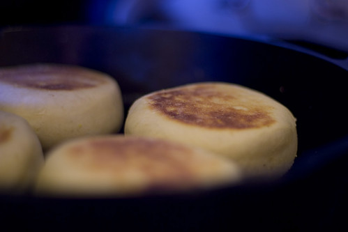 English muffins cooking