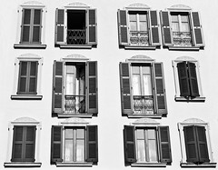 Different Shapes and Sizes - BW (Bianconero Photo LRPS) Tags: windows italy white lake abstract black color colour clouds landscape italia doors shutters bellagio