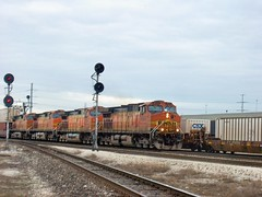 Westbound BNSF Railway intermodal transfer train. Hodgkins Illinois. January 2007.