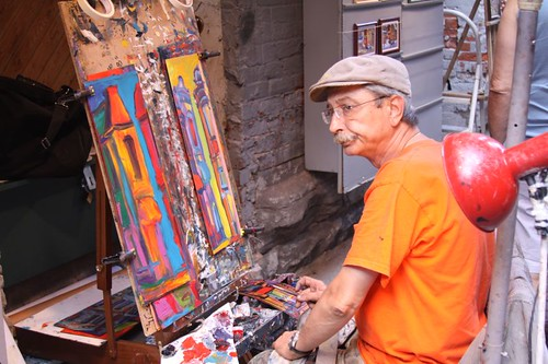 Painter on Rue des Artistes, Montreal.