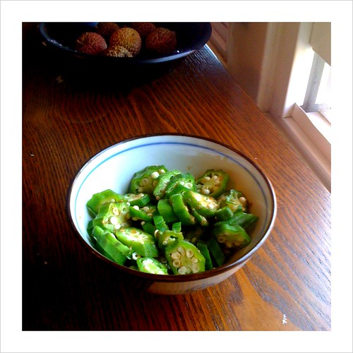 fresh okra dressed with a simple soy and yuzu sauce for breakfast.