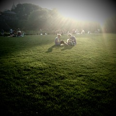 August 15a (Joe Turner Lin) Tags: nyc sunset couple centralpark lensflare vignette 2009 turtlepond iphone camerabagapp