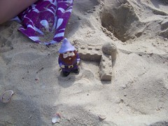 Zandor made a sand castle (The Pottery Place) Tags: castle gnome sand place pottery travelinggnome zandor travelinggnomecontest thepotteryplace