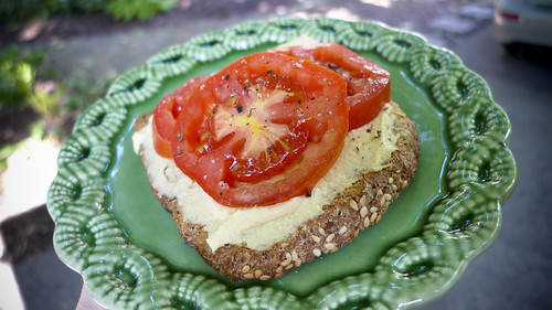 Second Breakfast: Homegrown Tomatoes and Hummus on Toast