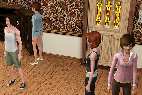 When I say all my inactive sims stand around in exercisewear...