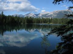 Lake Annette - Jasper Ntl Pk (26) (moelynphotos) Tags: trees canada reflection nature clouds landscape scenery jasper rockymountains jaspernationalpark lakeannette moelynphotos rainbowelite