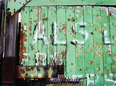 Old Green Door (Tony Worrall) Tags: door hinge uk urban cold color colour green art broken lines sign mystery bar writing design words cool gate arty flat northwest artistic grim decay painted entrance rusty lancashire grill faded signage preston bolts written scratched quirky greendoor ghostsign lancs