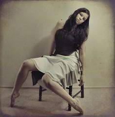 140.365 ~ .lifeless little doll. (just.K) Tags: light shadow sun wall weird chair waiting sad dress legs stupid yeartwo behind gaze grumpy gah slump 365days slouched 140365 justk
