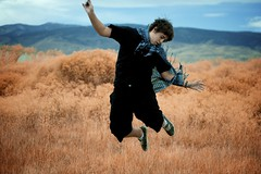 dayfiftyfive (geewillikersjett) Tags: blue sky orange mountains field scarf jump raw bluesky superman hero cape 365 iphotooriginal jumpjumpjump deadground
