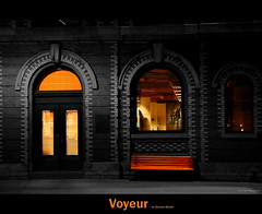 Voyeur (Thomas Michel) Tags: windows bw canada colour architecture night bench quebec top voyeur qubec lonely 80 fentre abigfave platinumphoto thomasmichel theunforgettablepictures vanagram newgoldenseal