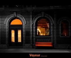 Voyeur (Thomas Michel) Tags: windows bw canada colour architecture night bench quebec top voyeur qubec lonely 80 fentre abigfave platinumphoto thomasmichel theunforgettablepictures vanagram newgoldenseal