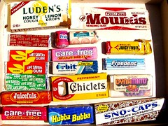 1970s & 1980s candy & gum (mankatt) Tags: life food kids vintage gum paul drops lemon candy howard peter honey packaging bubba snacks 1970s 1980s savers johnsons orbit carefree mounds mints cough hubba snocaps chiclets ludens freedent dynamints juicefuls carfefree