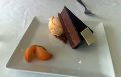 Dark chocolate mousse cake with apricot sorbet at The Forth Floor Restaurant, Harvey Nichols, Edinburgh