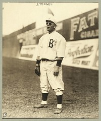 Casey Stengel, full-length portrait, wearing sunglasses, while playing outfield for the Brooklyn Dodgers