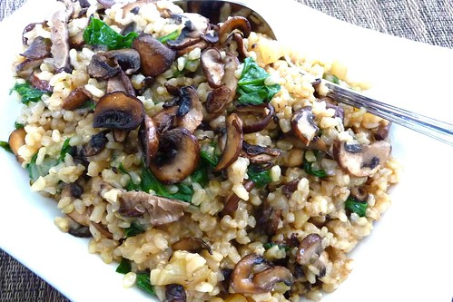 Toasted Brown Rice with Mixed Mushrooms, Spinach & Thyme