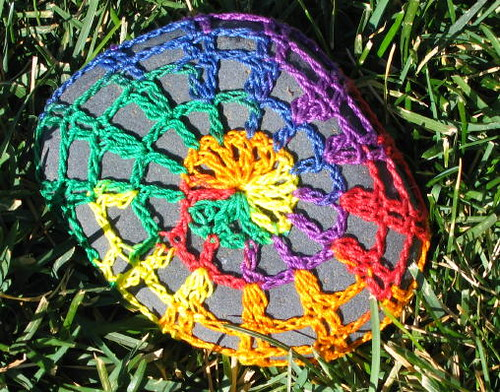 Crocheted Stone in the grass