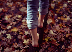Fall, you came too early. ({peace&love}) Tags: pink fall girl up leaves walking log purple pants rolled pinkparis1233