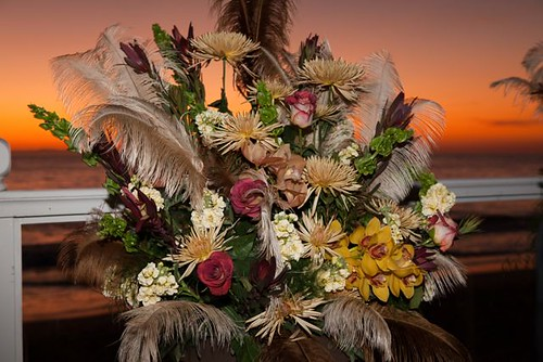 Ceremony Flower arrangenet with Ostrich feathers