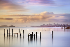 Sausalito Morning #2 - Marin County California (PatrickSmithPhotography) Tags: sanfrancisco county longexposure usa seascape water clouds landscape oakland bay pier treasureisland unitedstates marin coittower baybridge sausalito yerbabuenaisland alkatraz visipix