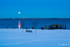 Moonrise (E. Aguedo) Tags: moon snow winter warwick water trees bench blue dock ocean rhode island new england ngc rocky point reflection