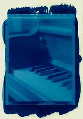 cyan - piano 2 (T. Scott Carlisle) Tags: blue film polaroid piano 4x5 type55 largeformat cyanotype tsc altprocess btm tphotographic tscarlisle