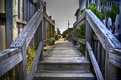 Boardwalk (Chris Ammond) Tags: wood vacation sky sun beach photoshop canon fence bokeh northcarolina nails boardwalk tamron outerbanks photomatix