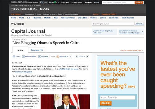 Live-Blogging Obama's Speech in Cairo - Capital Journal - WSJ_1244124872901