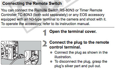 Connecting the remote switch, as explained on page 105 of the Canon EOS 50D User Manual