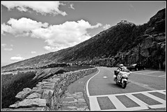 Whiteface 8: Easy Rider (Tony Fischer Photography) Tags: road sky blackandwhite bw mountain ny newyork nature clouds high motorcycle biker elevation whiteface lakeplacid whitefacemountain