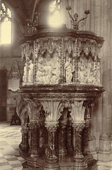 Pulpit in Nave, Worcester Cathedral (Cornell University Library) Tags: saints cathedrals angels worcester preaching jesuschrist tracery trefoils naves pulpits newtestament haloes cornelluniversitylibrary reliefsculptures religiousinteriors worcestercathedralworcesterengland culidentifier:lunafield=accessionnumber culidentifier:value=155309000982