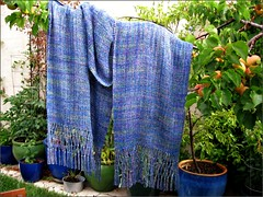 Woven Silk Shawl  with apricots