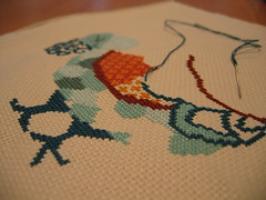 Cross stitch chicken WIP (the_red_deer) Tags: chicken crossstitch wip dmcthread