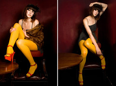 Charlie (ruby-may) Tags: 1920s red beauty fashion yellow female canon hair model brighton dress legs tights heels eos350d platforms