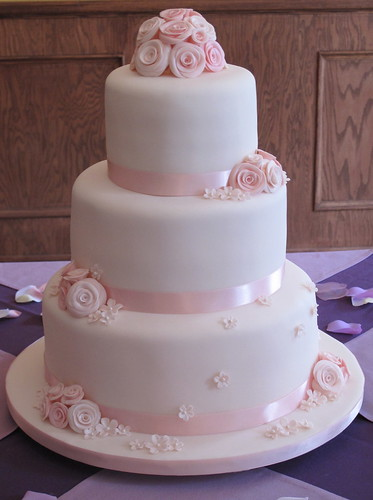 Wedding Cake With Pink Roses Best
