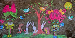Chalk mural (boopsie.daisy) Tags: girls tree cute bunny bunnies bird ice colors chalk squirrel mural nest cream hedgehog boopsiedaisy thepoppytree