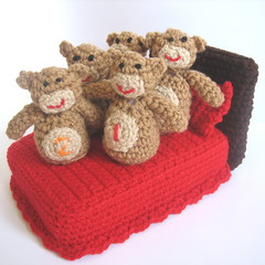 5 Little Monkeys Jumping on the Bed (craftyanna) Tags: boy girl toy monkey diy jumping bed stuffed pattern little five crochet numbers learning monkeys instructions educational learn tutorial counting