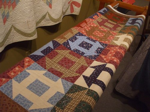 Communal quilt for visitors to stitch onto